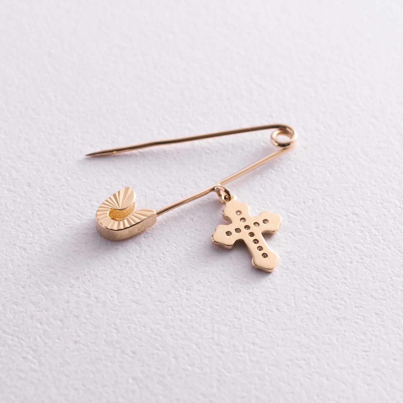 Золотая булавка с крестиком (фианиты) зак003191