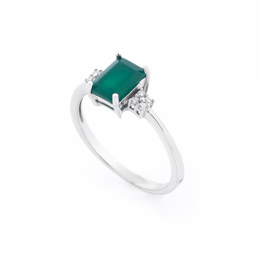 Серебряное кольцо (хризопраз, фианит)