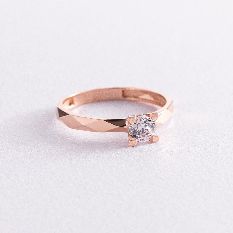 Помолвочное золотое кольцо с фианитом к06432