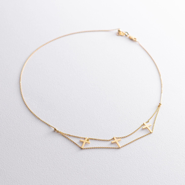 Золотое колье с крестиками кол00981