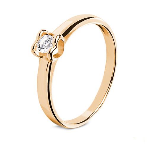 """Золотое помолвочное кольцо """"Сердце"""" с бриллиантом"""