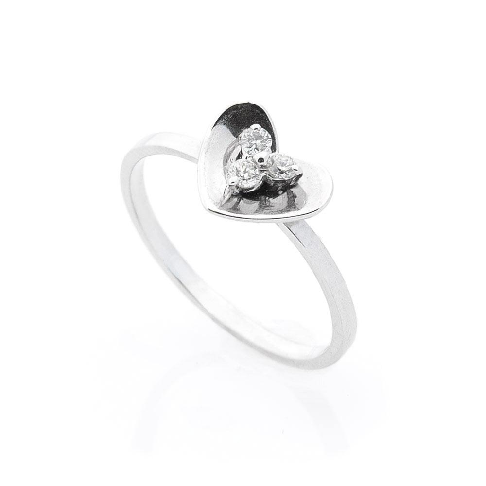 "Золотое кольцо ""Сердечко"" с бриллиантами"