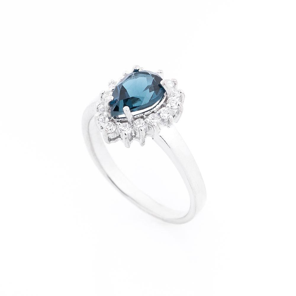 Помолвочное серебряное кольцо с топазом и фианитами