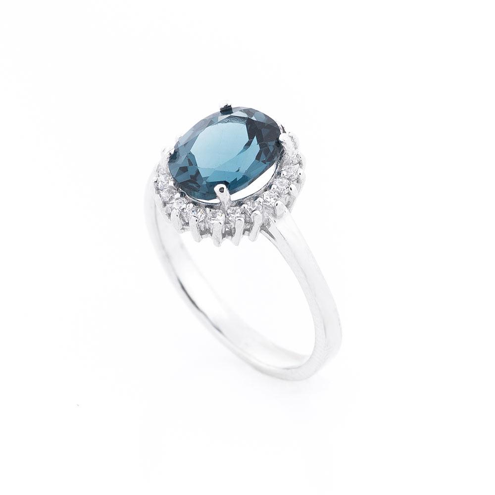 Помолвочное серебряное кольцо (топаз, фианиты)