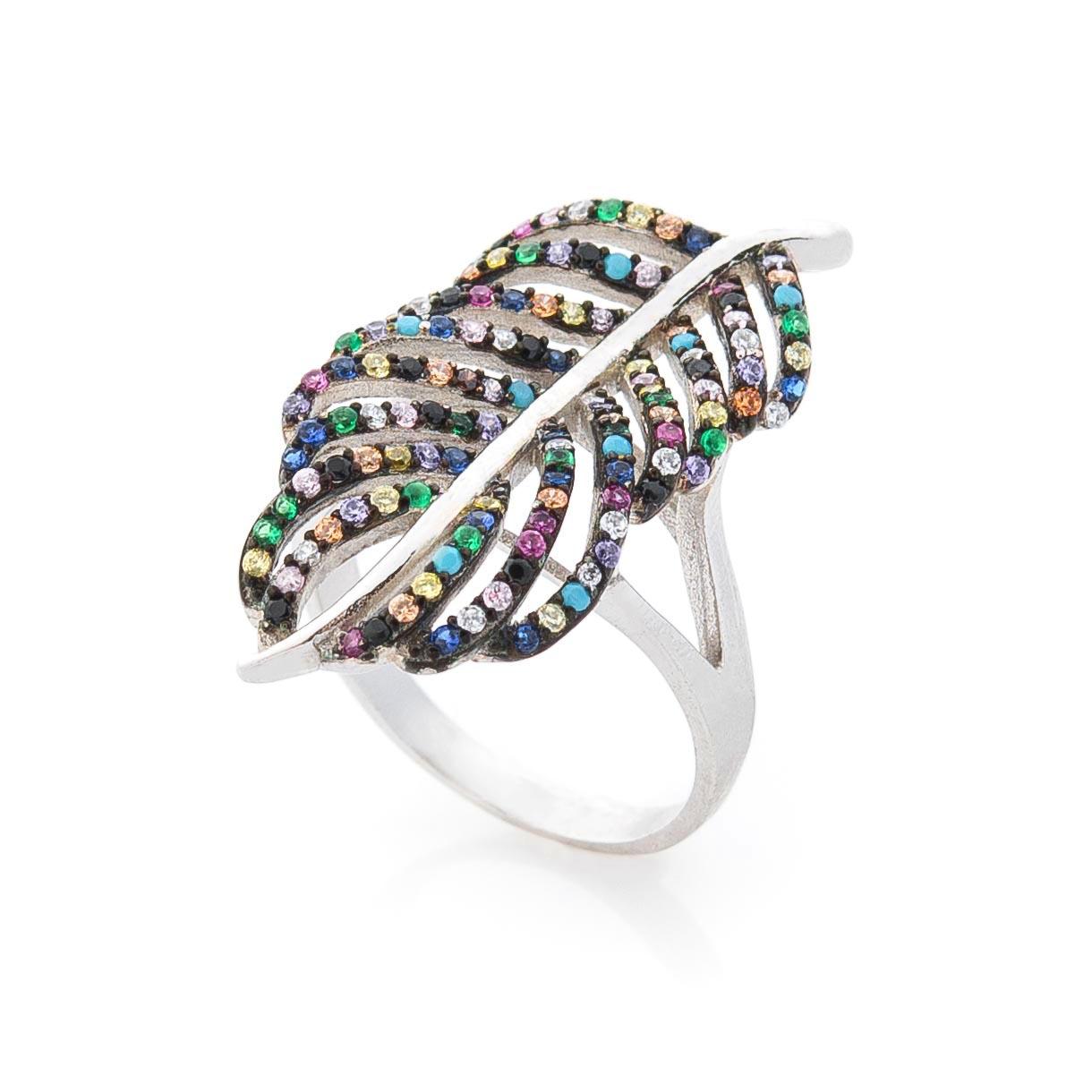 """Серебряное кольцо """"Листочек"""" (разноцветные фианиты)"""
