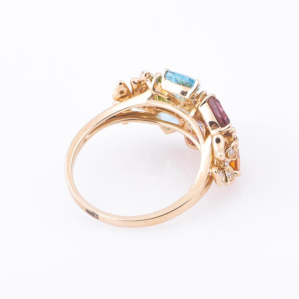 Золотое кольцо с натуральными камнями (с цитрином)