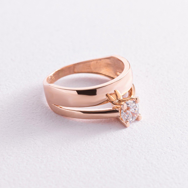 Помолвочное золотое кольцо с фианитом к05782