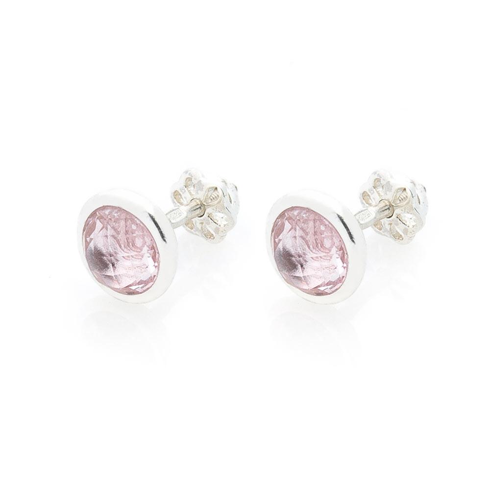 Серебряные серьги-пусеты с розовым топазом