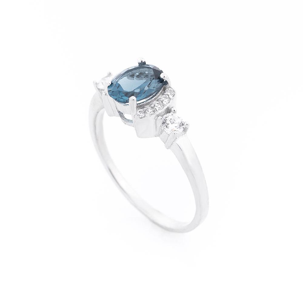"""Помолвочное кольцо (топаз """"Лондон голубой"""", фианиты)"""