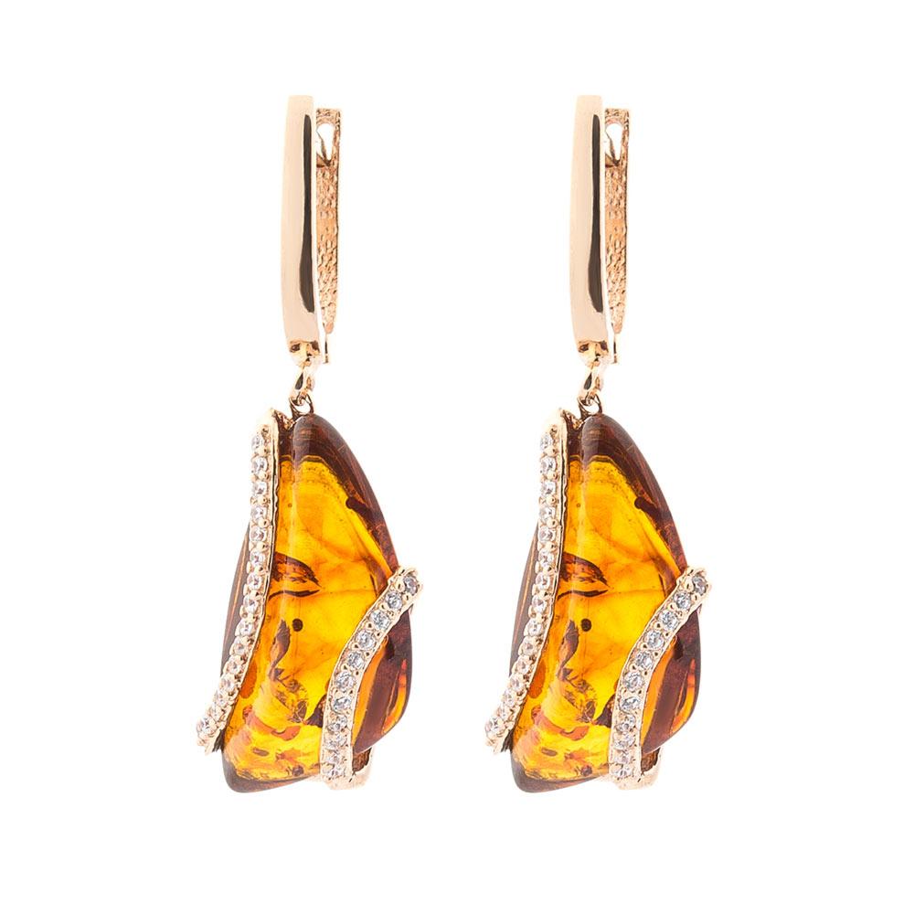 Золотые серьги (янтарь, фианиты)