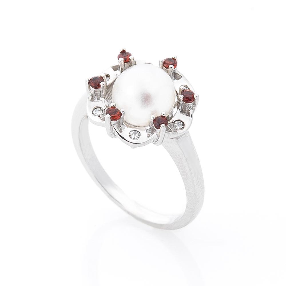 Серебряное кольцо (культ. пресн. жемчуг, фианит)