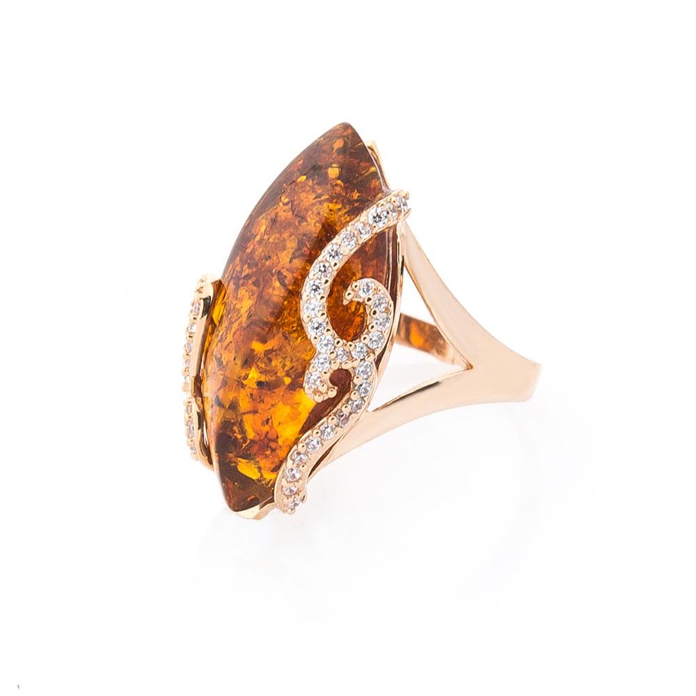 Золотое кольцо (янтарь, фианиты)