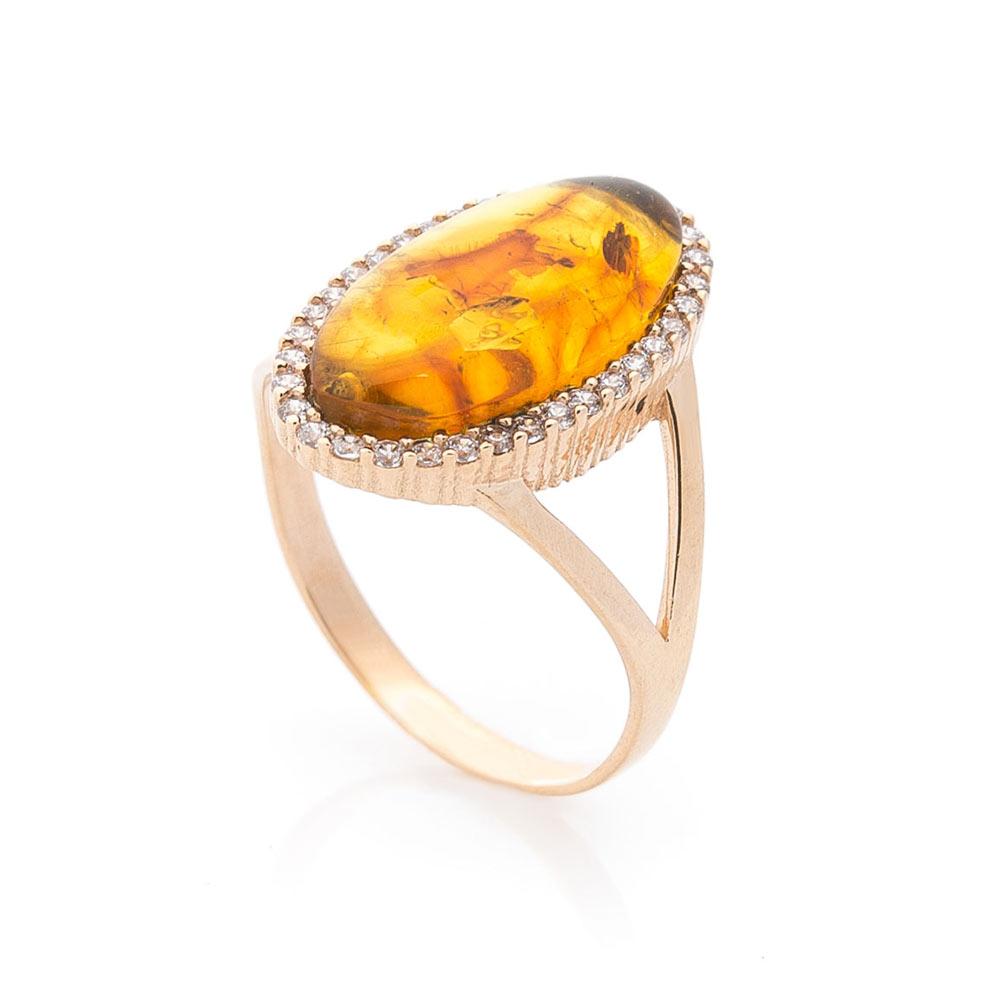 Золотое кольцо (янтарь, фианит)