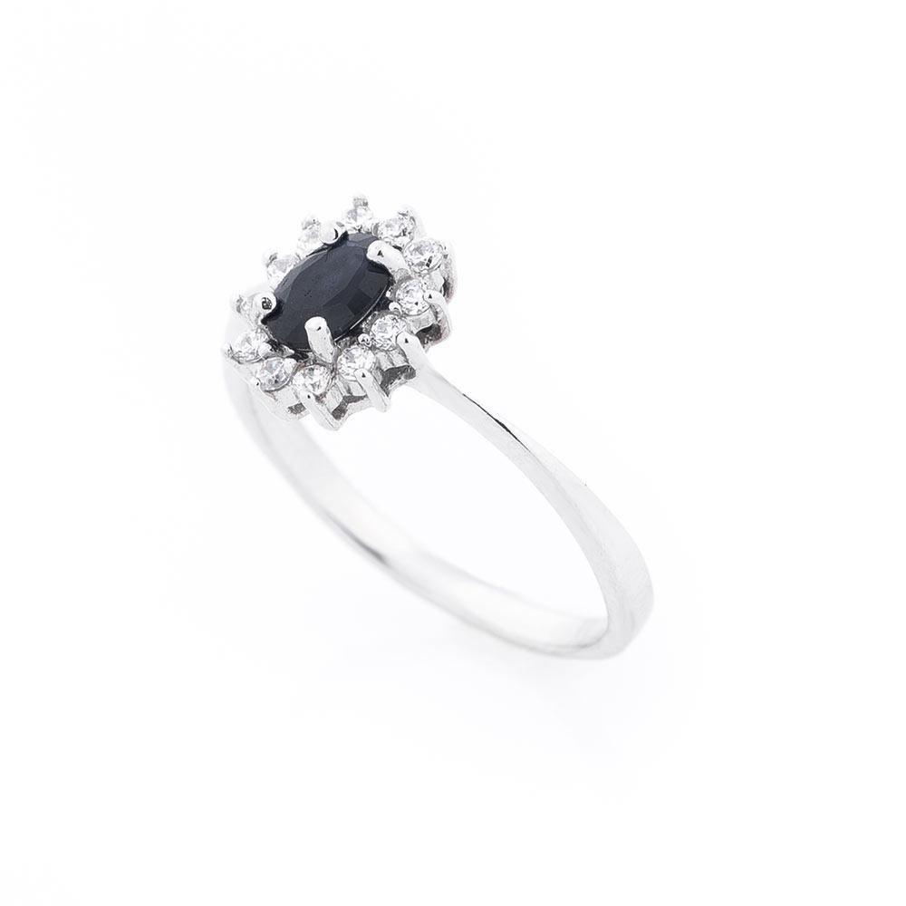 Помолвочное серебряное кольцо (сапфир, фианиты)