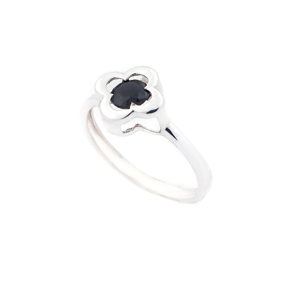 """Серебряное кольцо """"Клевер"""" с черным фианитом"""