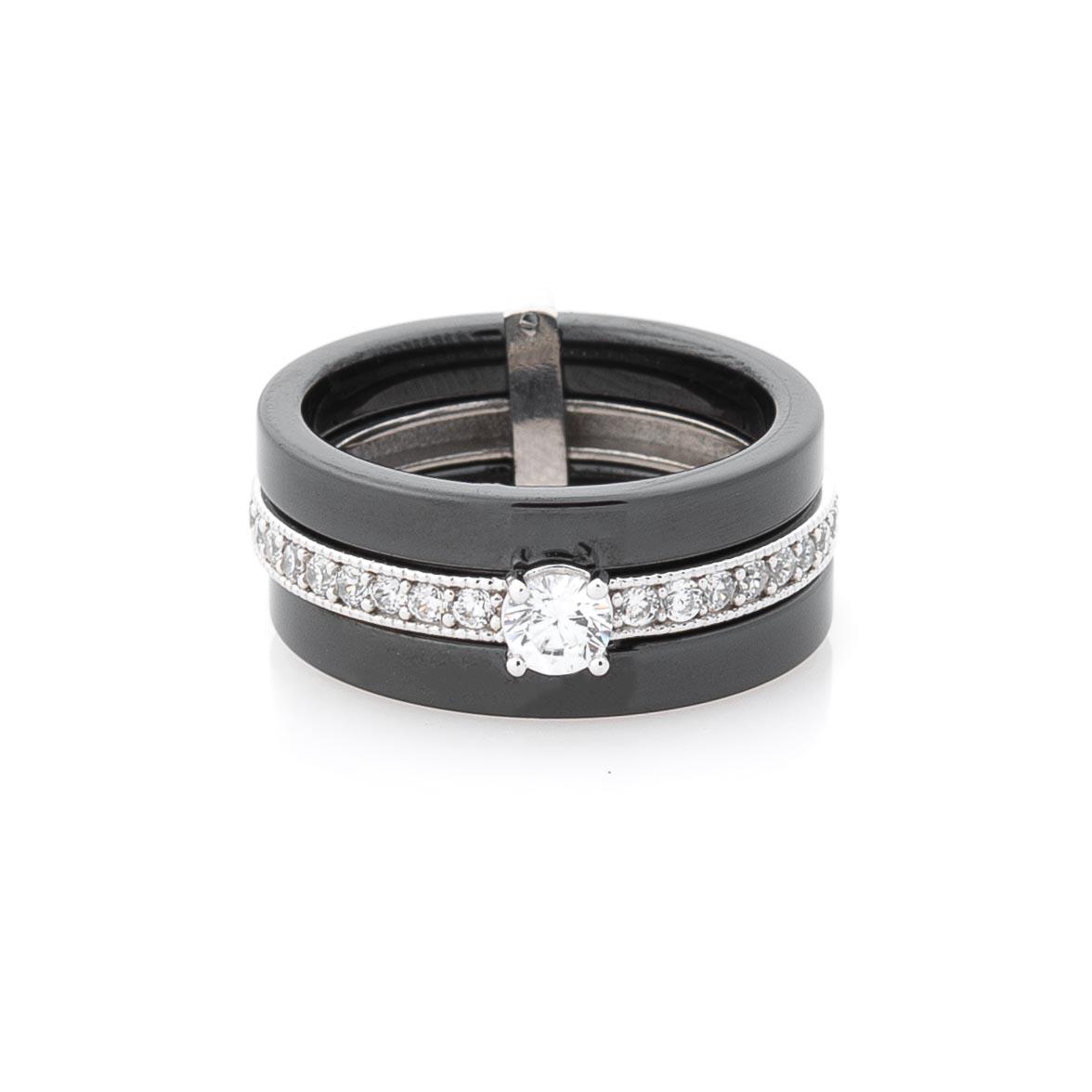 Керамическое кольцо с серебряной вставкой (фианиты)