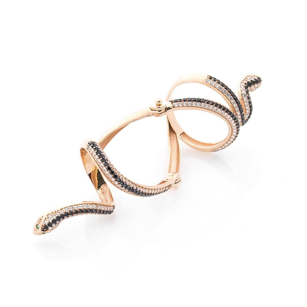 """Золотое кольцо на фалангу """"Змея"""" с фианитами"""