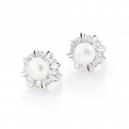 Сережки з перлами. Купити золоті на срібні сережки з перлами Київ ... 491e9cf7a43d8