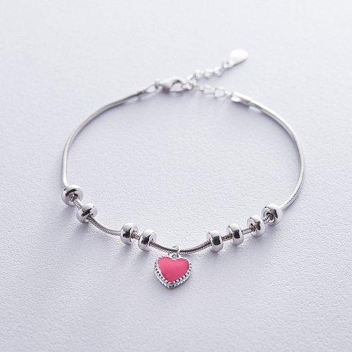 Серебряный браслет с сердечком (эмаль) от ювелирного магазина Оникс